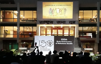 150th Birth Anniversary of Mahatma Gandhi has been commemorated in Kathmandu with an LED Projection