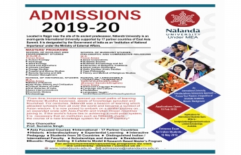 Admissions for the Master's program for the academic batch 2019-21 at Nalanda University
