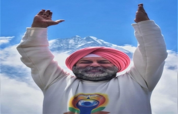 Indian Ambassador to Nepal Manjeev Singh Puri celebrating yoga in the lap of Sagarmatha-Mt Everest