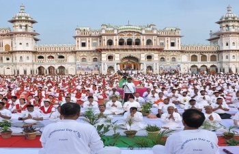 5th International Day Of Yoga celebrations in Nepal. Yog Utsav organised at iconic Janaki temple in Janakpur. Indian Ambassador, Governor of Province 2 and other dignitaries attended the programme.