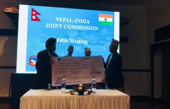 EAM and FM of Nepal witnessed the handing over of a cheque of INR 80.71 cr which is a part of GoI's commitment of INR 500 cr towards strengthening road infrastructure in the Terai Region of Nepal.4 road packages are ready for inauguration.