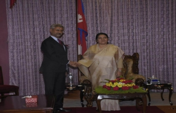 EAM Dr. S. Jaishankar paid a courtesy call on Rt. Hon'ble President of Nepal Mrs. Bidya Devi Bhandari at Sheetal Niwas.
