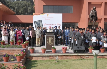 EoI, Kathmandu celebrated Constitution Day today. Amb. Sh. M.S. Puri along with school children, Indian nationals and officials of Embassy read out preamble of The Indian Constitution. Patriotic songs were also rendered by SVCC, Kathmandu.