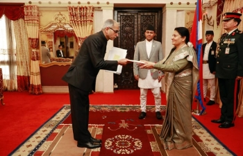 Mr. Vinay Mohan Kwatra, Ambassador of India to Nepal presented his credentials to the Rt. Hon. President of Nepal Ms. Bidya Devi Bhandari at a ceremony held at President's Office, Sheetal Niwas, on 5th March 2020.