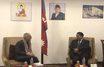 Ambassador of India to Nepal Shri Vinay Mohan Kwatra paid a courtesy call to Rt. Hon. Vice President of Nepal Mr. Nanda Bahadur Pun on 5th March 2020