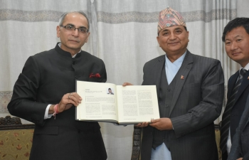 "Ambassador Vinay Mohan Kwatra gifted a book titled ""WHAT GANDHI MEANS TO ME"" to Rt. Hon. Mr. Nanda Bahadur Pun, Vice President and Rt. Hon. Mr. Ishwar Pokhrel, DPM and Defence Minister of Nepal, today. This is an anthology of articles of prominent personalities from around the world and contains an article by Rt. Hon'ble PM of Nepal Mr. K.P. Sharma Oli."