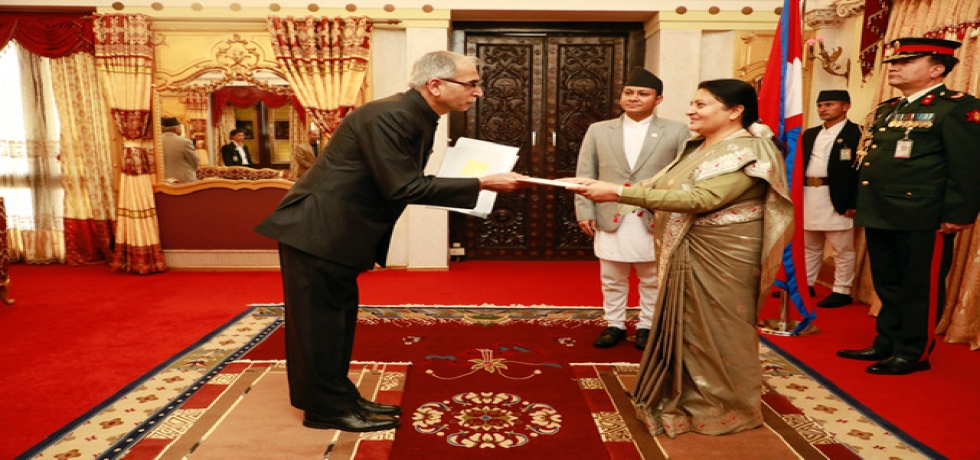 Mr. Vinay Mohan Kwatra, Ambassador of India to Nepal presented his credentials to the Rt. Hon. President of Nepal Ms. Bidya Devi Bhandari at a ceremony held at President's Office, Sheetal Niwas on 5th March 2020