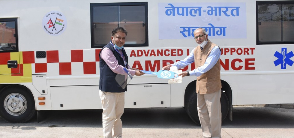 Ambassador handing over keys of Advanced  Ambulance to Senior Adviser to the Ministry of Health, Government of Nepal - 2nd October 2020