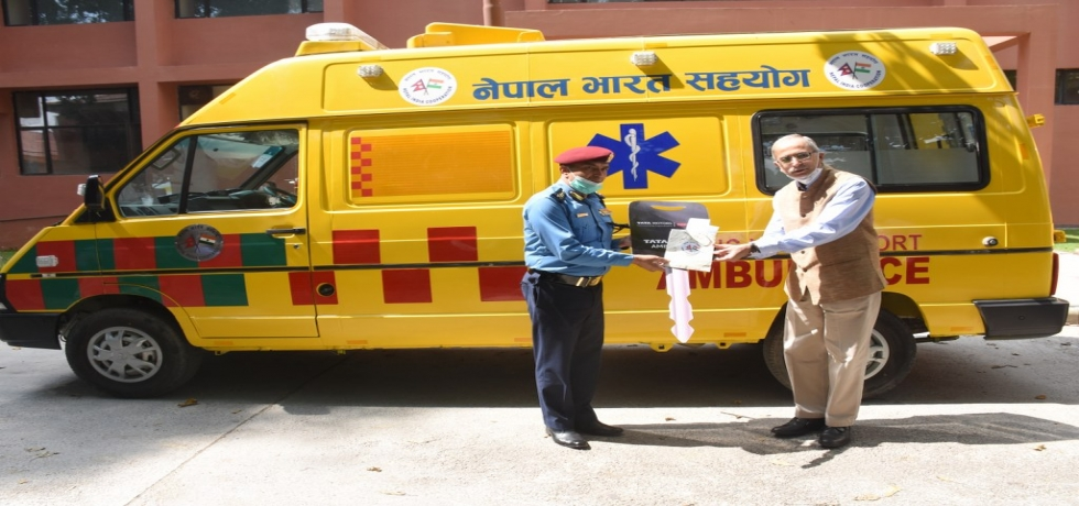 Ambassador handing over keys of Advanced Ambulance to Senior Representative of National Police Academy Nepal-2nd October 2020
