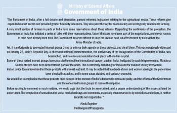 MEA Press statement on the farmers' protests issue