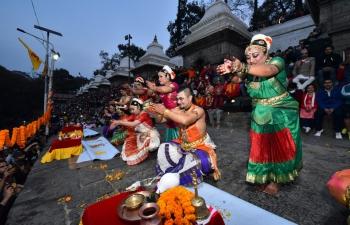 Bharatanatyam Dance recitals on the occasion of Maha Shivaratri at the banks of Bagmati river facing the Lord Pashupatinath temple